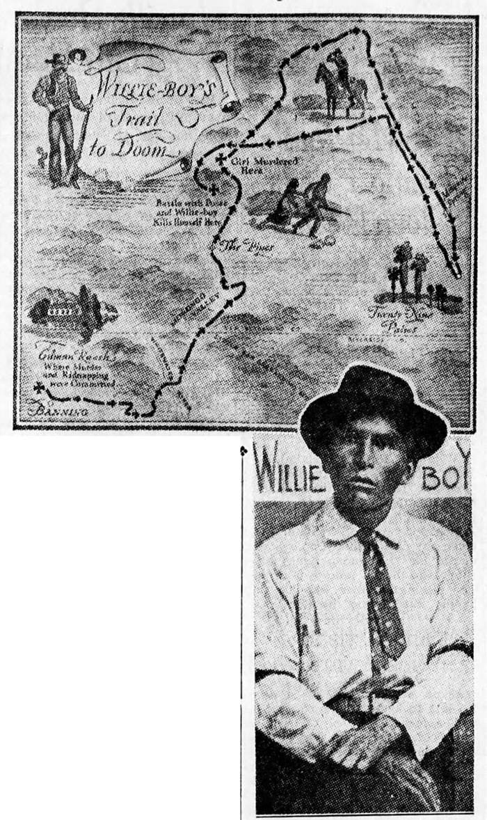 Willie Boy escape route map