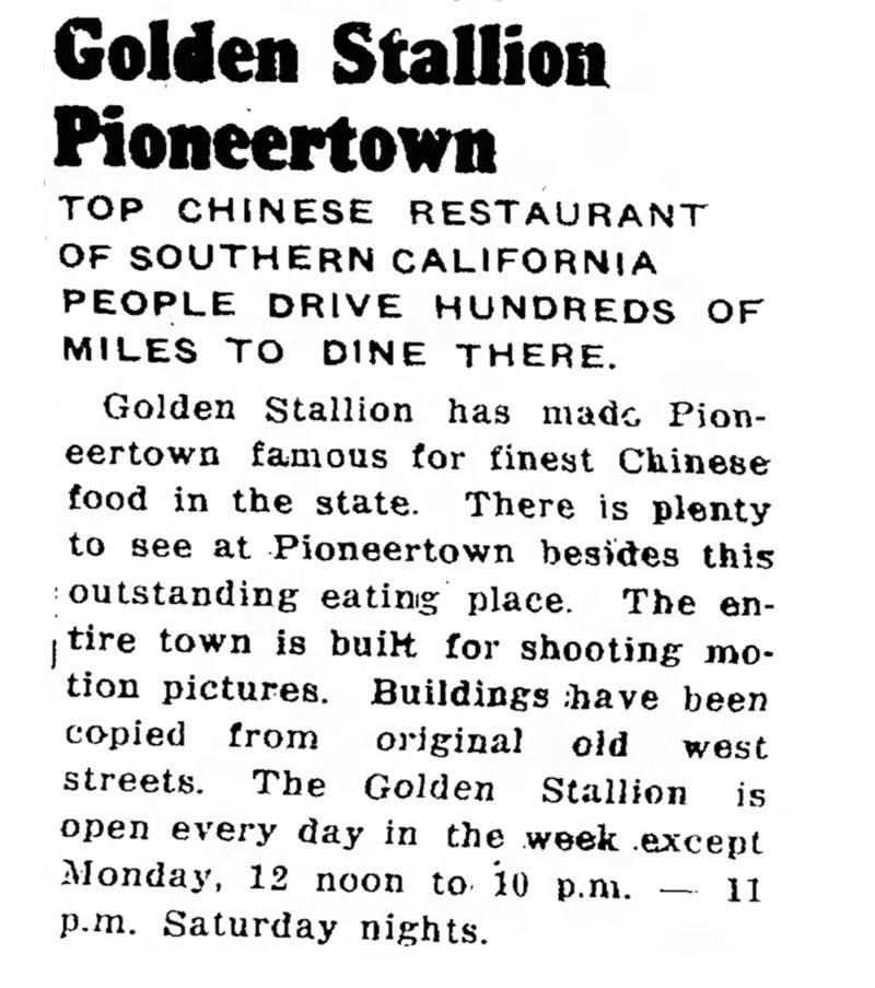 1953 Golden Stallion Restaurant advertisement
