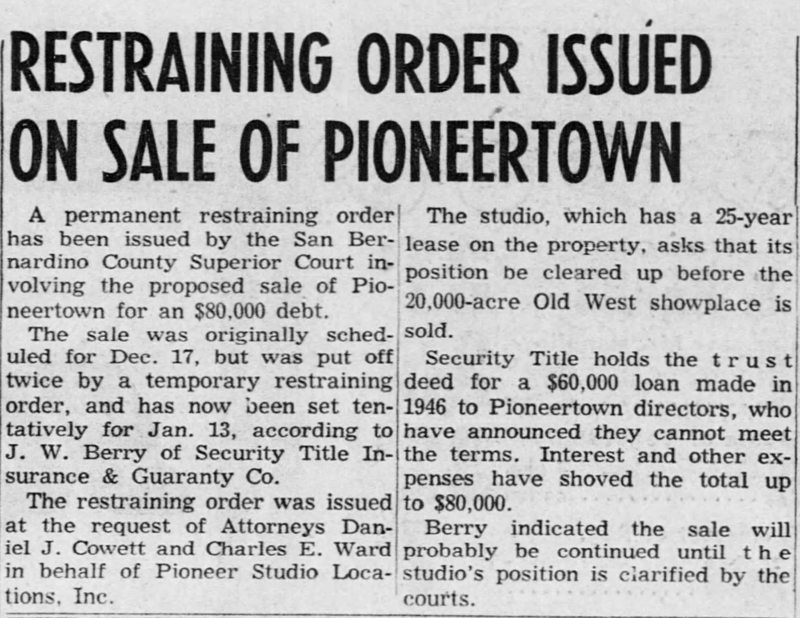 Jan. 7, 1954 -The San Bernardino County Sun article clipping