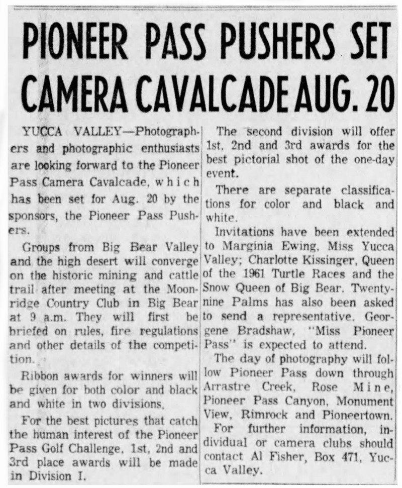 Aug. 8, 1961 - The San Bernardino County Sun article clipping