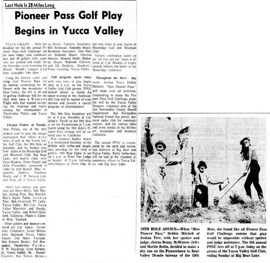Oct. 9, 1964 - The San Bernardino County Sun article clipping