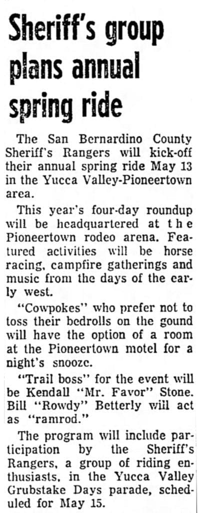 May 7, 1965 - Redlands Daily Facts article clipping