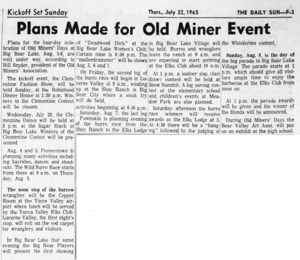 July 22, 1965 - The San Bernardino County Sun article clipping