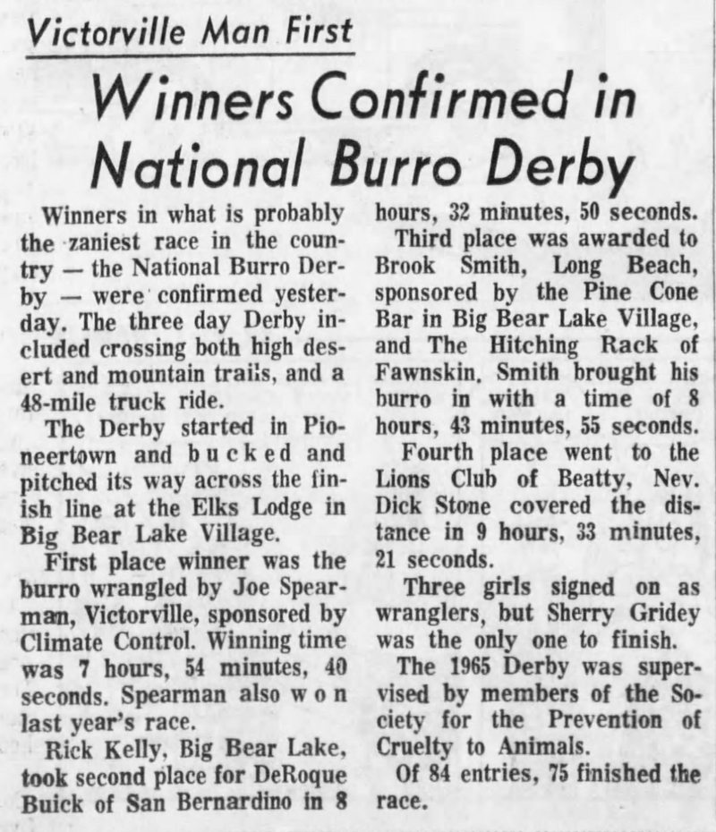 Aug. 11, 1965 - The San Bernardino County Sun article clipping