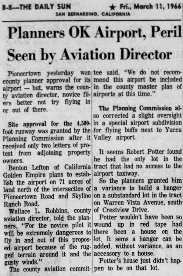 Mar. 11, 1966 - The San Bernardino County Sun article clipping