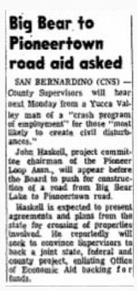 Big Bear Back to Pioneertown Road article clipping