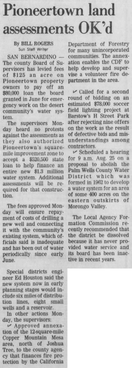 Aug. 5, 1981 - land assesments oked clipping