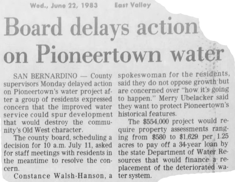 June 2, 1983 clipping = Pioneetown water