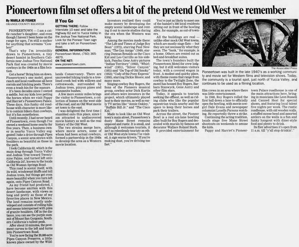 PIoneertown film set - Mar. 13, 2005 - Santa Cruz Sentinel article clipping