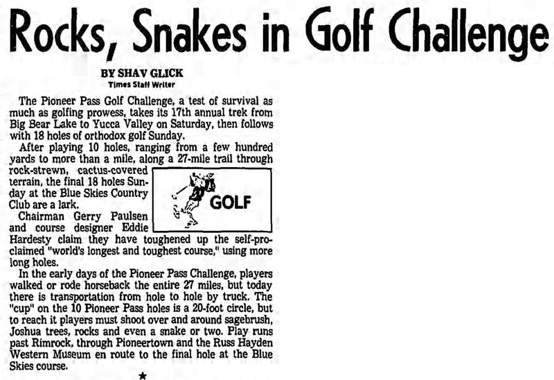 rock, snakes in Golf Challenge article clipping