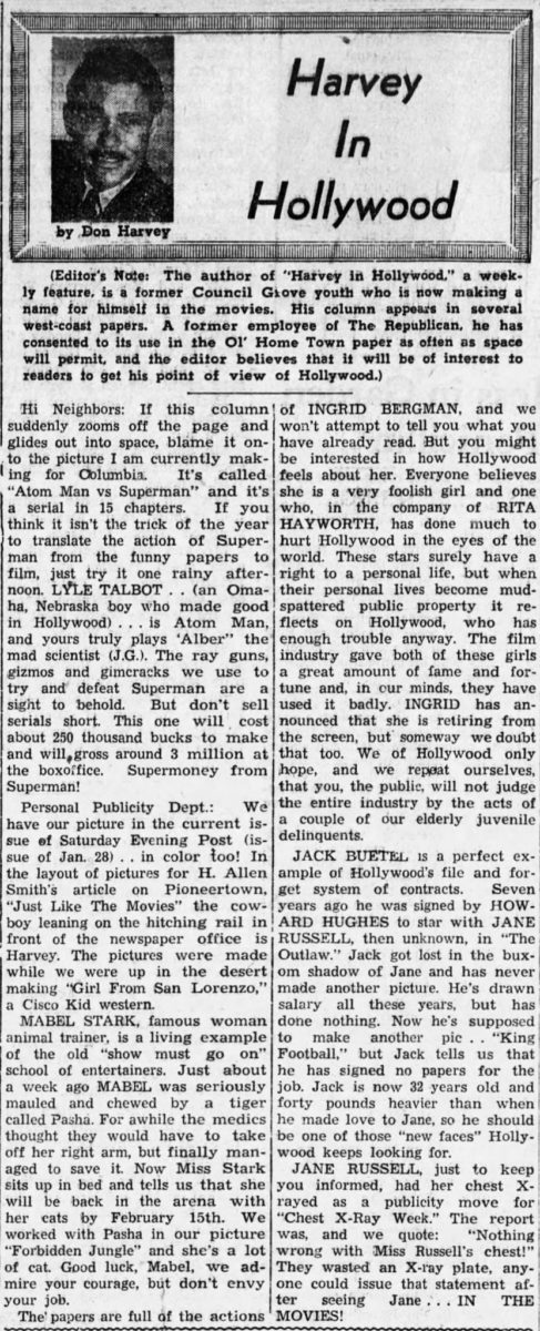 Feb. 17 1950 - Council Grove Republicann article clipping