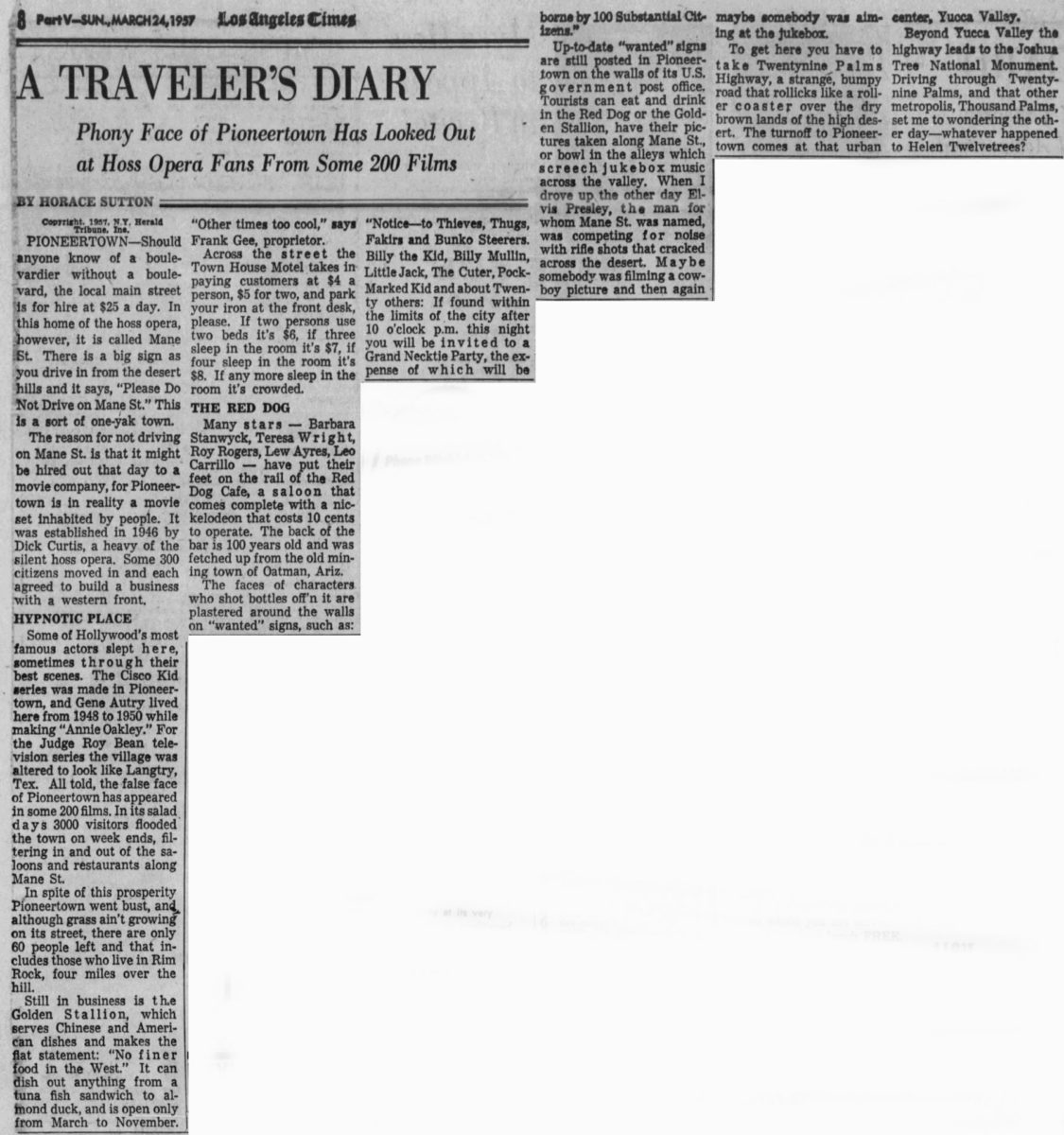 Mar. 24, 1957 Traveller's article clipping