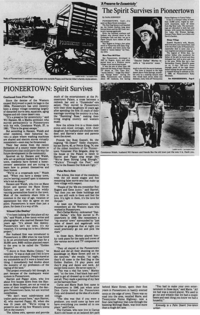 Sept. 26, 1983 Pioneertown spirit article clipping