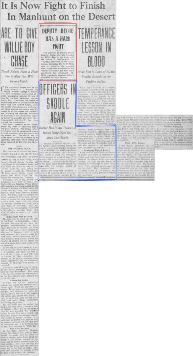 Oct. 12, 1909 - The San Bernardino County Sun article clipping